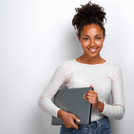 Female Studying IT Course Online using e-learning platform